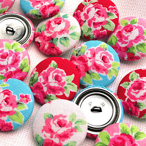 Floral Rose Hand Covered Fabric Buttons