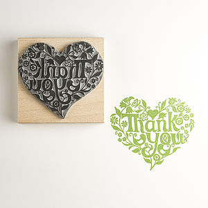 Thank You Heart Rubber Stamp - wedding stationery