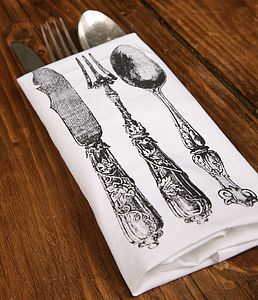 Knife Fork & Spoon Multi Coloured Napkins - bed, bath & table linen