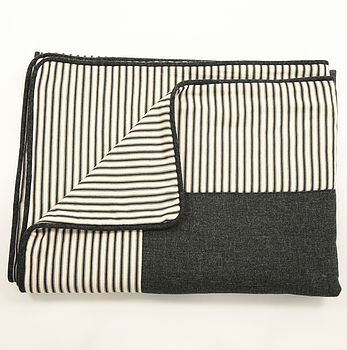 Tweed And Ticking Stripe Piped Bedspread
