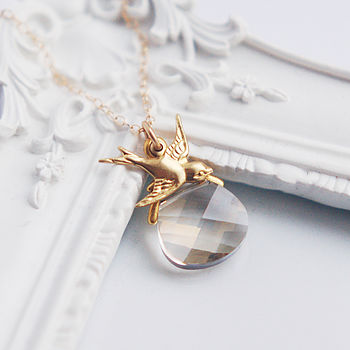 Swarovski Briolette And Gold Swallow Necklace