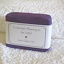 personalised soap for her wrapped in dark purple paper