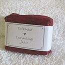 personalised soap for him wrapped in burgundy red