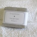 personalised soap for him wrapped in pale grey