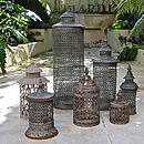 Complete range of vintaged lanterns