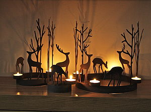 Set Of Three Reindeer Tealight Rings - table decorations
