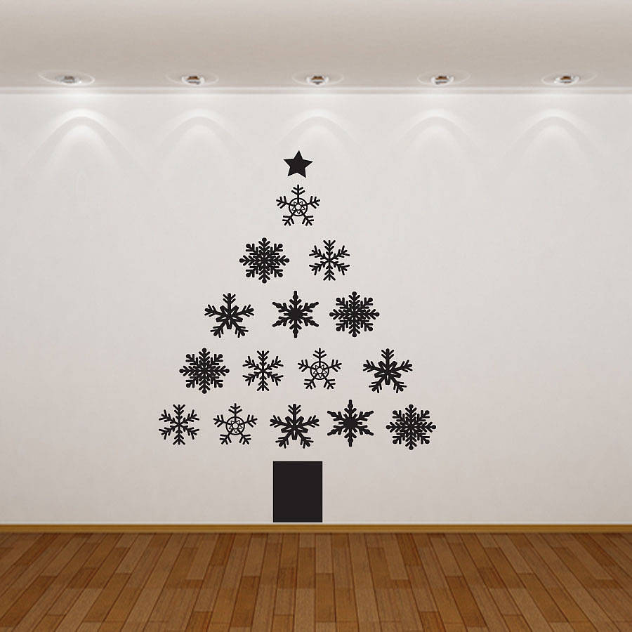 Wall Christmas Trees Christmas Tree Wall Ideas Simple Fabulous Black And White