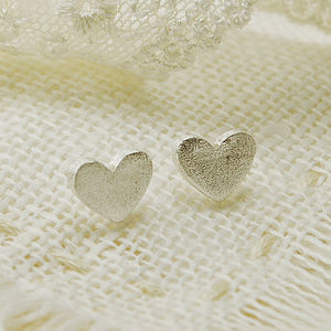 Frosted Heart Stud Earrings - earrings