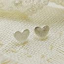 Frosted Heart Stud Earrings