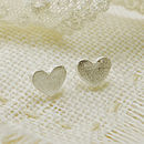 Frosted Heart Stud Earrings