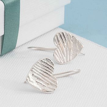 Textured Silver Heart Shaped Drop Earrings