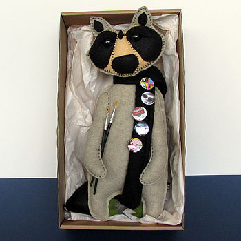 Artist Andy Handmade Raccoon Felt Doll