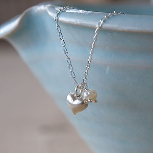 Silver Heart And Pearl Necklace