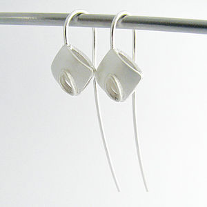 Handmade Long Wire Cushion Earrings