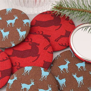 Christmas Deer And Stag Pocket Mirror - stocking fillers under £15