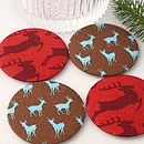 red & brown deer mirrors