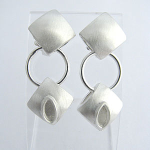 Handmade Diamond Cushion Drop Earrings