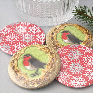 Christmas Robin And Snowflake Pocket Mirrors - beauty accessories
