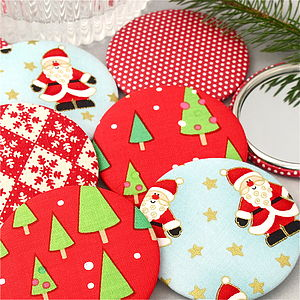 Christmas Fabric Pocket Mirrors - stocking fillers
