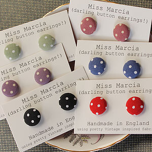 Miss Marcia Spotty Button Earrings - earrings