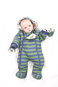 Boy's Striped Pramsuit - children's clothing