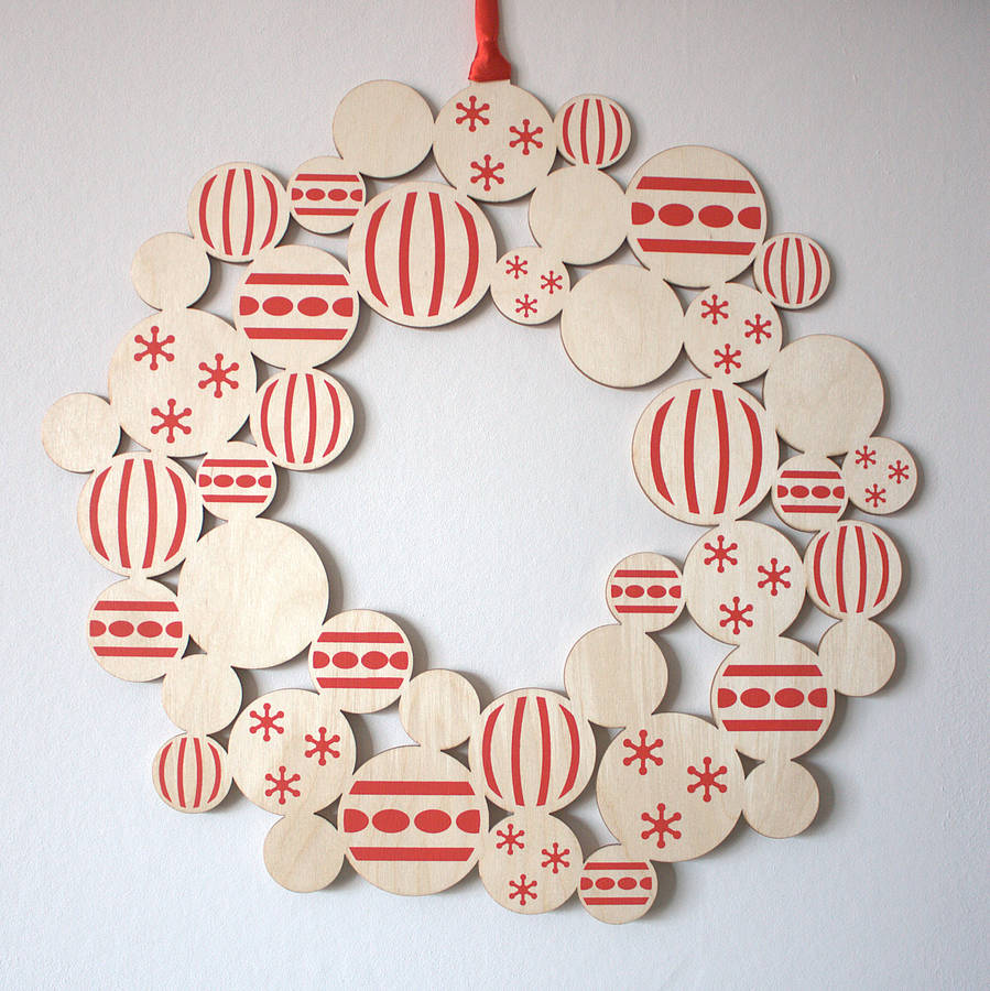 Screenprinted wooden bauble christmas wreath by gilbert