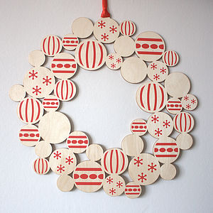 Screenprinted Wooden Bauble Christmas Wreath - wreaths