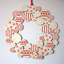 Screenprinted Wooden Bauble Christmas Wreath