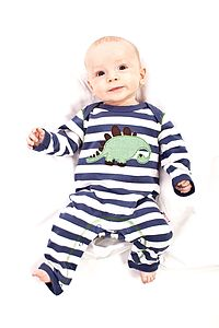 Striped Dino Sleepsuit - bodysuits & all-in-ones
