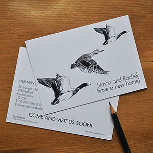 Personalised Flying Duck New Home Cards