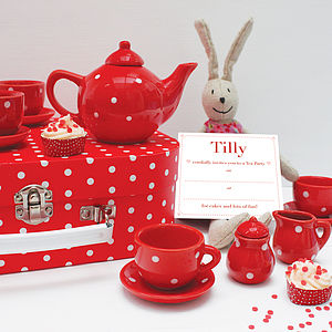 Dotty Tea Set With Personalised Invitations - keepsakes