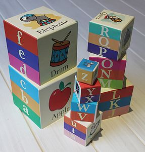 Stackable Alphabet Blocks - traditional toys & games