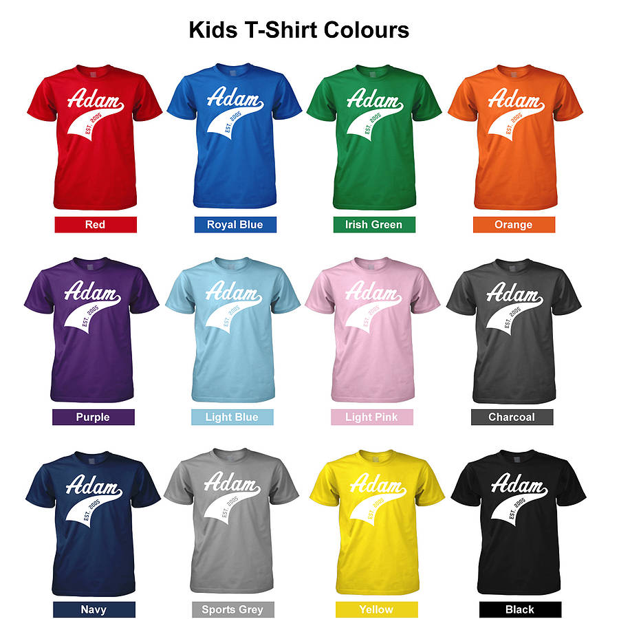 childs personalised athletic sports t shirt by flaming