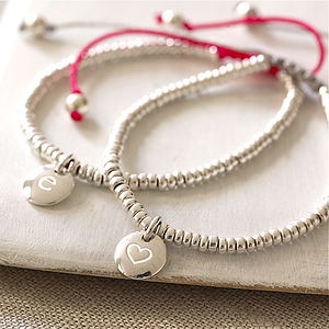 Personalised Silver Bead Friendship Bracelet - gifts for her