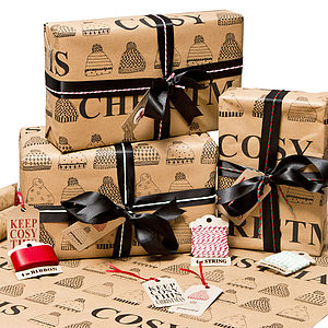 Keep Cosy This Christmas Wrapping Paper - ribbon & wrap