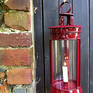 Lovely Big Red Metal And Glass Lantern - christmas home accessories