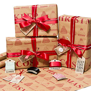 'Keep Cosy This Christmas' Wrapping Paper - christmas wrapping paper