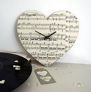 Handmade Personalised Vintage Music Clock - gifts for the home