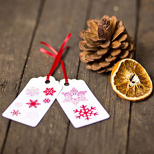Snowflakes Christmas Gift Tags Recycled - summer sale
