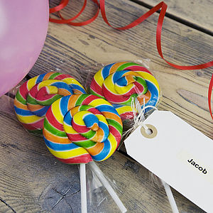 Rainbow Swirly Lollipop - wedding favours