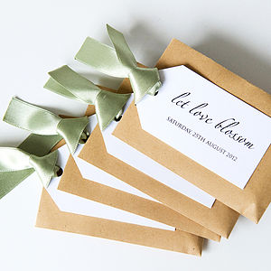 20 Personalised Seed Packet With Tag Favours - wedding favours