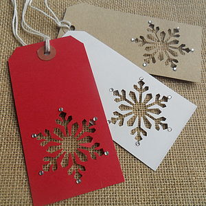 Six Handmade Christmas Snowflake Gift Tags - cards & wrap
