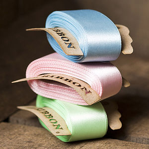 Double Satin Ribbon Bobbin - mint, blush & gold