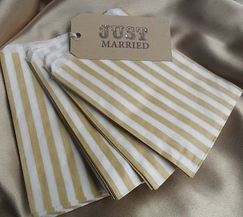 50 Gold Striped Paper Candy Sweet Bags