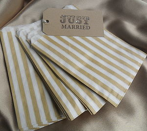 100 Gold Striped Paper Candy Sweet Bags - cards & wrap