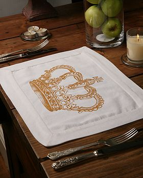 Set Of Four Crown Print Table Mats: sepia
