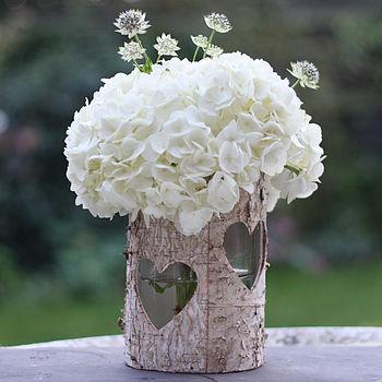 Wooden Birch Bark Vase Or Lantern