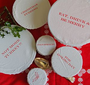 Set Of Six Christmas Cotton Bowl Covers - view all decorations