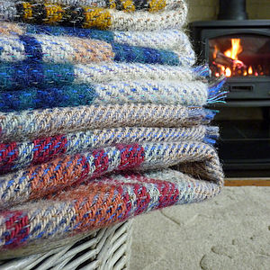 Checked Recycled Wool Blanket Or Picnic Rug