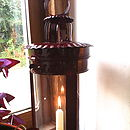 Lovely Big Red Metal And Glass Lantern
